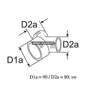 1320375A Тройник 90/80/80мм (пластик)